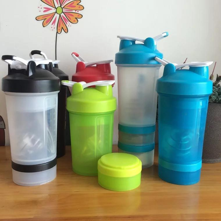 Protein Shaker Compartment: Protein Shaker Bottle Sport Plastic Water Bottle With