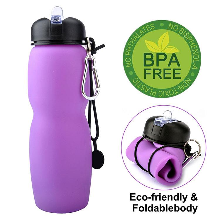 Plastic Silicone Drinking Sport Water Bottle With Sipper Cap Lid