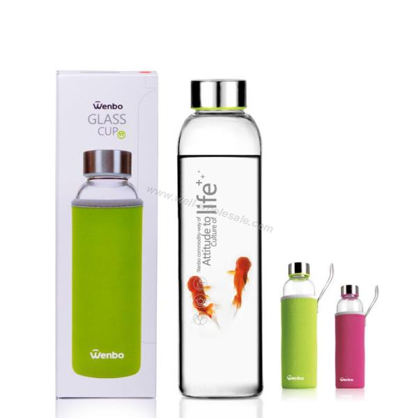 160 420 550ml glass water bottle with silicone sleeves bpa free protein shaker bottles