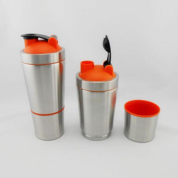 Protein Shaker Lid: 700ml + 200ml Stainless Steel Water Bottle Protein Shaker
