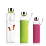 BPA Free 16 oz Glass Water Bottle Silicone Grip Flip Cap