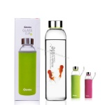 160/420/550ml glass water bottle with silicone sleeves BPA free
